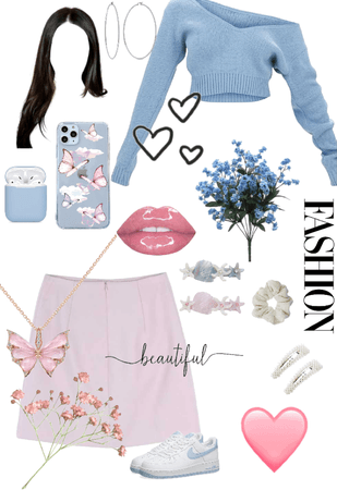light pink and light blue outfit