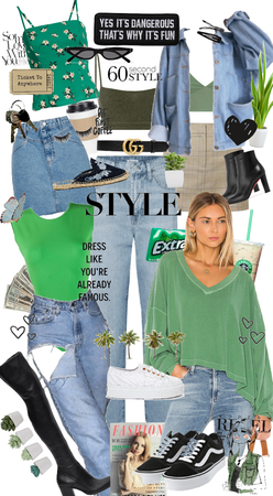 all jeans and green