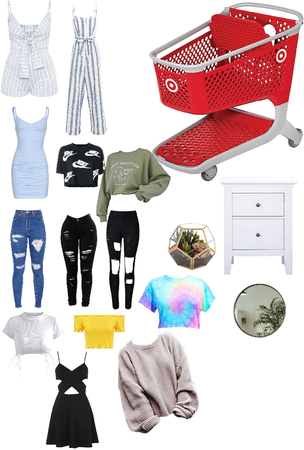 clothes and stuff for a girl's bedroom