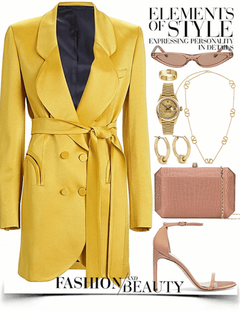 yellow & nude formal look