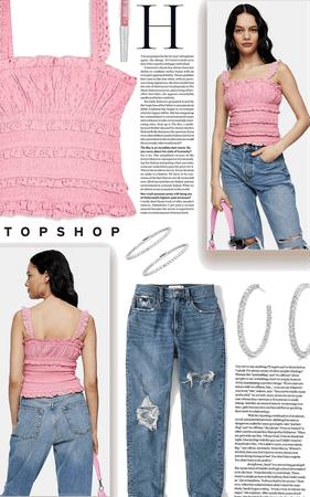 pink broderie cami | topshop