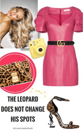 Leopard pink leather