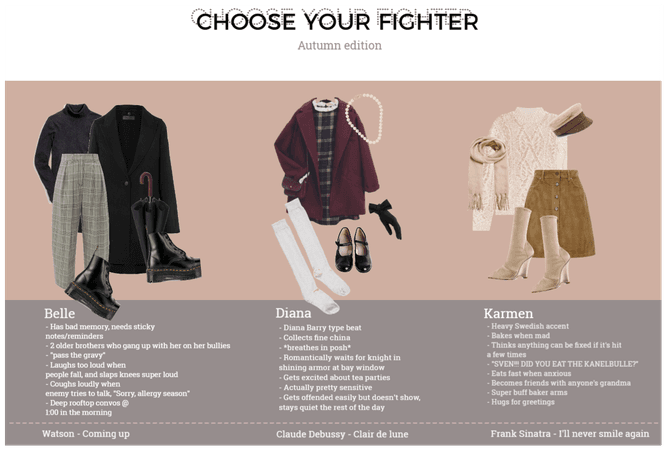 Choose your fighter (Autumn edition)