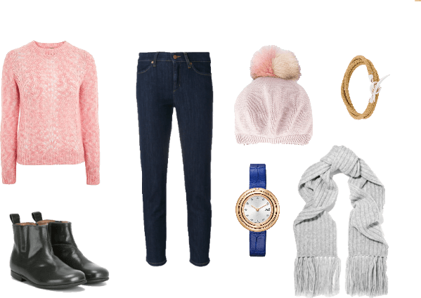 winter outfit with pink jumper, jeans, hat, scarf, boots and accesories