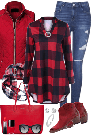 Lady in Red and Plaid
