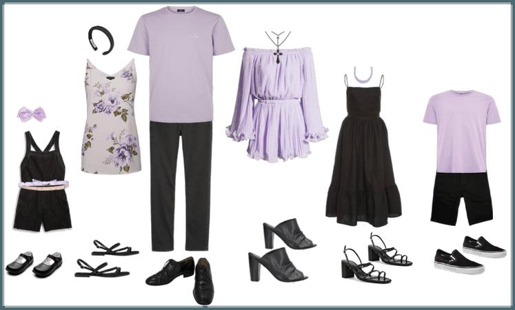 Family portrait outfit summer lavender black