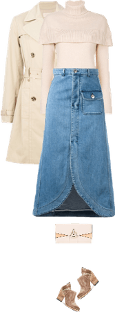 Casual outfit: Beige - Denim