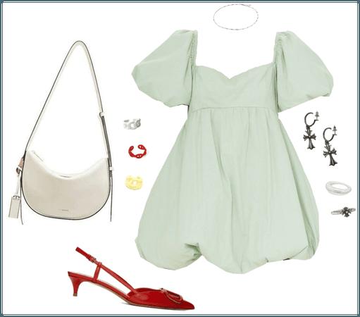 green dress + red slingbacks