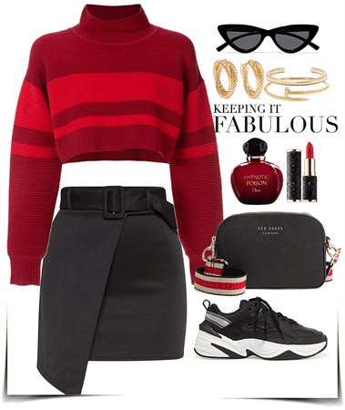 red pullover with tight skirt look