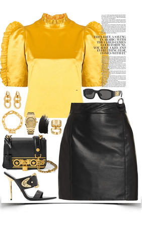 strong yellow & black with gold jewelry look
