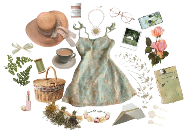 Cute Cottagecore aesthetic outfit with dress