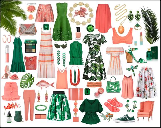 Coral & Emerald Collage