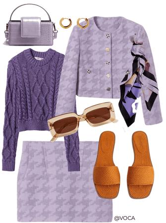 all purple by MANGO. Preppy.