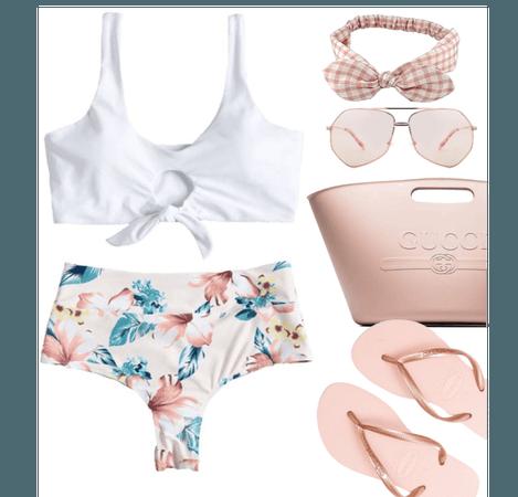 white floral swimsuit bottom