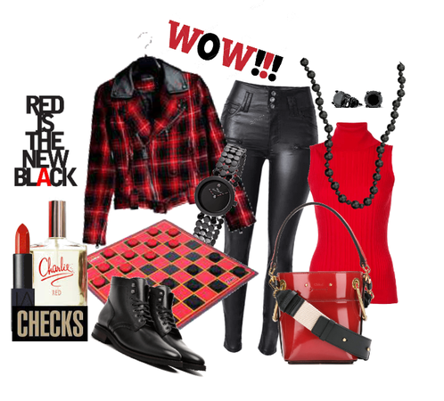 Red and Black check Jacket and LeatherJeans