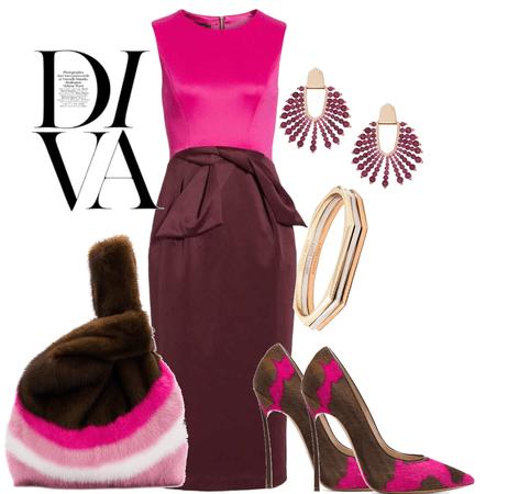 F/W 2018- Color block Dress in Magenta & Burgundy