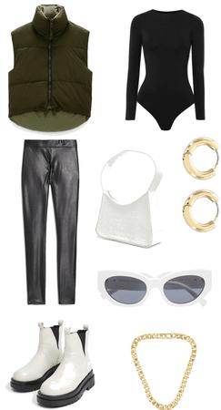Khaki Zara Gilet Styled