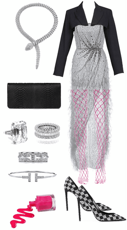 sleek gala look with a pop of pink