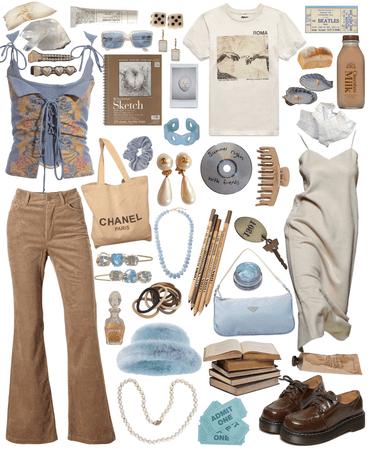 white beige brown blue minimalist