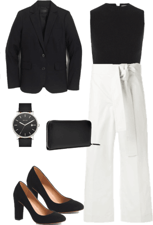 Trendy work outfit featuring high-waisted trousers