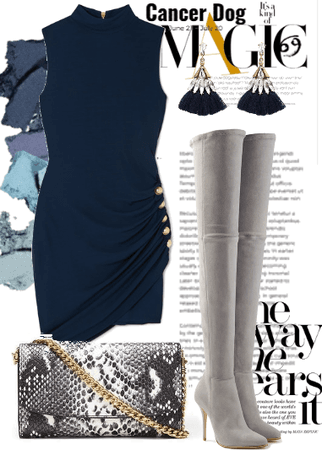 The Navy Blue Dress & Gray Boots.