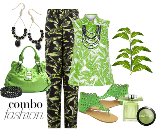 Lime and black combo outfit