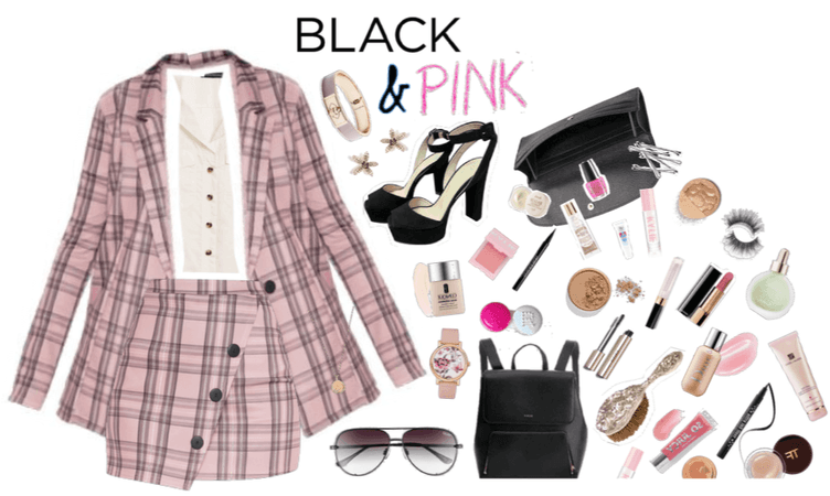 Geo Outfit: Black and pink