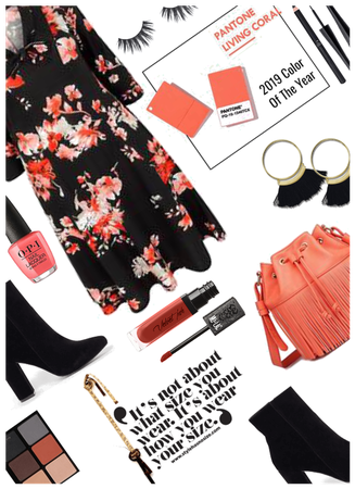 Plus Size/Color of year look-Coral