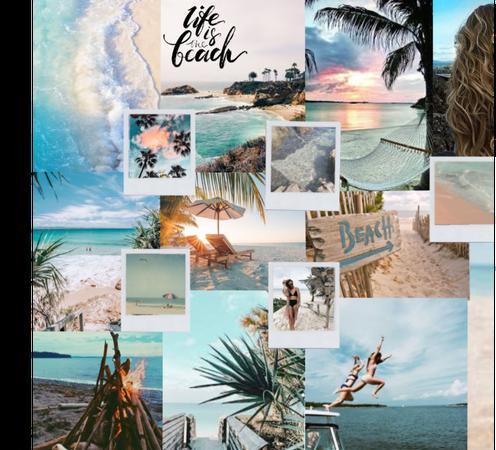 Beach collage aqua
