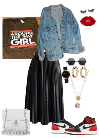 Graphic Tee & Leather Skirt