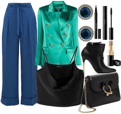 dressy outfit mix green and blue