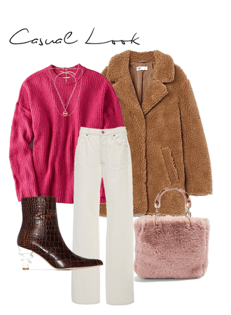 Casual fall look with a pop of color