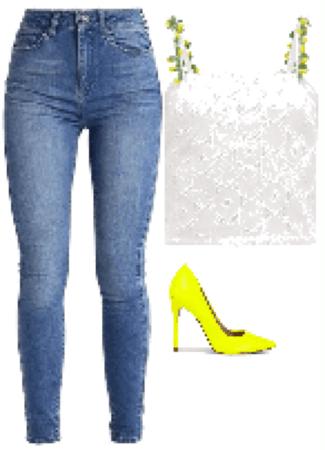 Outfit zapatos verde flúor