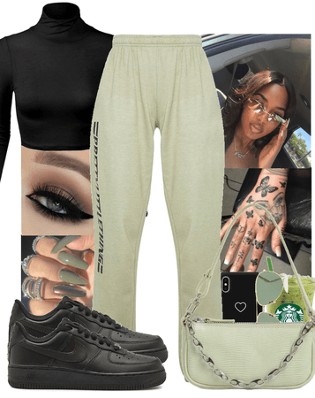 sage green and black🪐🖤
