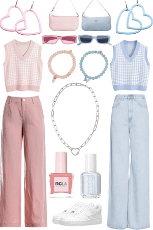 pink x blue matching fits