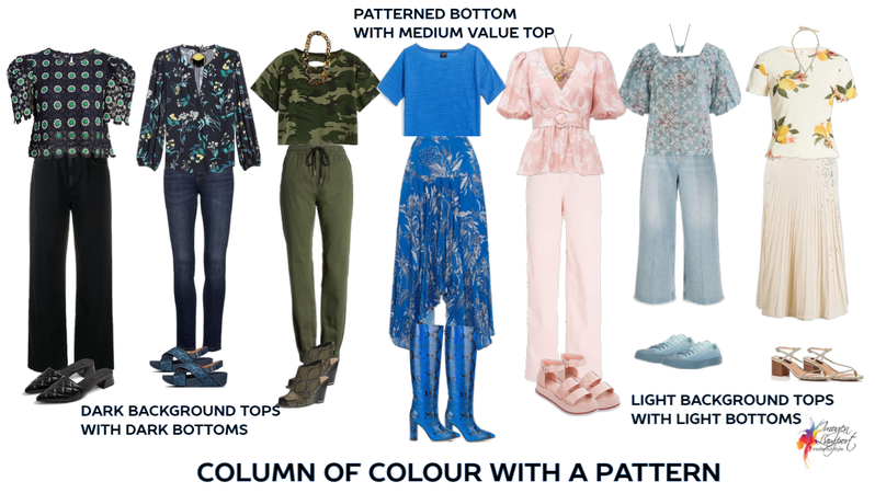 column of colour using patterns