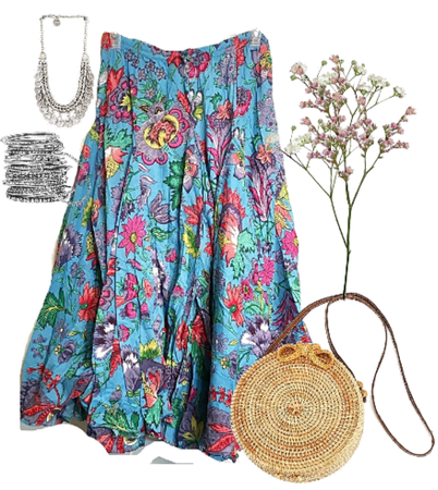 Soft Surroundings Blue Floral Maxi Skirt