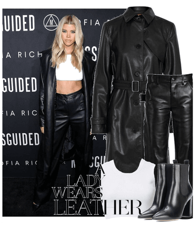 a lady wears leather