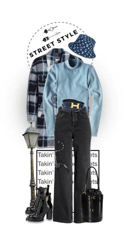 Street Style | Bucket Hat | Blue Flannel