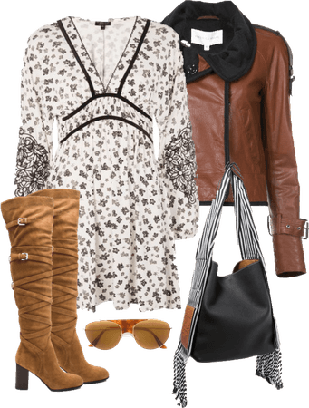 Pretty Floral Print Dress and Brown Leather Bomber Jacket