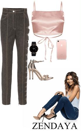 rose gold + black jeans for Zendaya