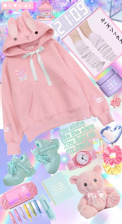 pink bunny goes to school♡♡