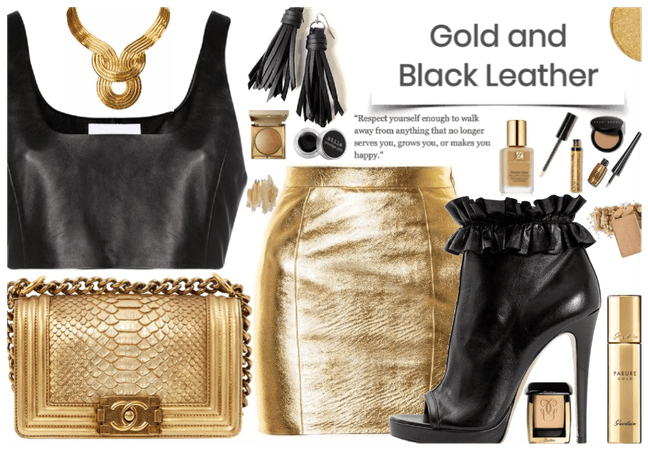 Gold and Black Leather