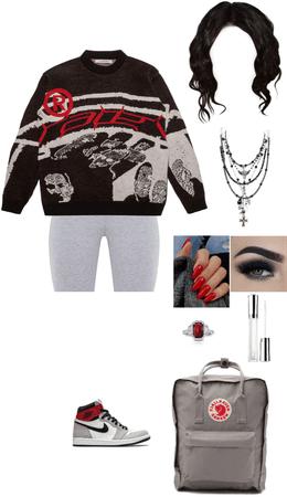 sweater and biker shorts