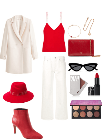 Red and white outfit
