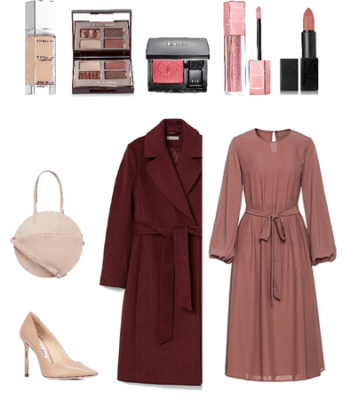 burgundy coat and rose dress
