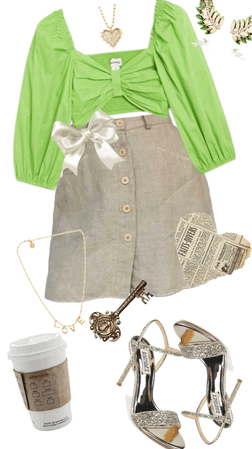 cute green light academia outfit