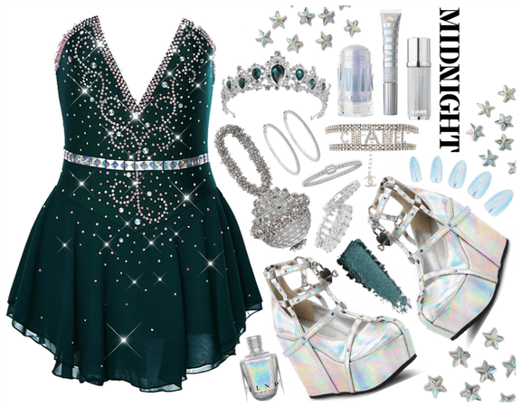 Doll inspired: emerald & crystal holographic