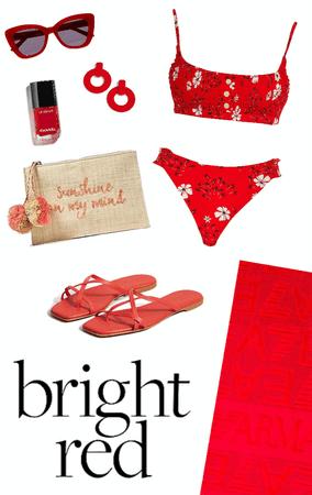 Bright Red Beach Wear