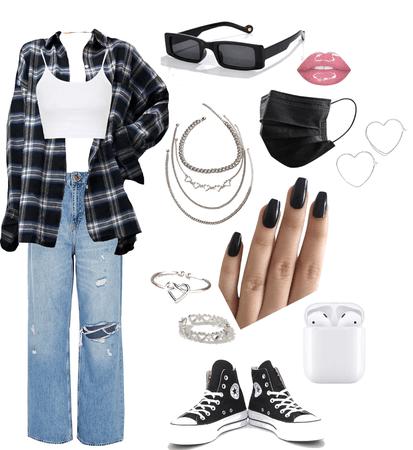 plaid flannel + jeans fit